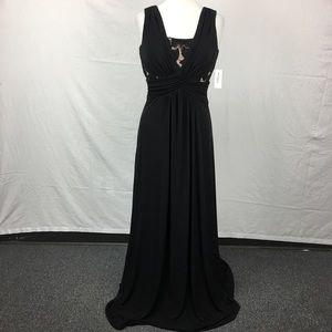 Dressbarn Black Lace Pleat Detail Formal Dress